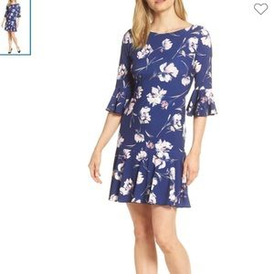 NWT Eliza J Blue Floral Peplum Bell Sleeve Dress